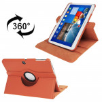 360 Degree Rotation Litchi Texture Leather Case with Holder for Samsung Galaxy Tab 3 (10.1) / P5200 / P5210, Orange(Orange)