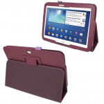 Litchi Texture Leather Case with Holder for Samsung Galaxy Tab 3 (10.1) / GT-P5200 (Dark Purple)