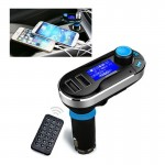 Bluetooth Tacking Handsfree Car Kit FM Transmitter with Remote Control, 2.1A Dual Car Charger for iPhone 6 & 6 Plus / Samsung Ga