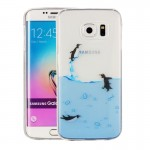 For Samsung Galaxy S6 Edge / G925 Lovely Penguins Pattern IMD Workmanship Soft TPU Protective Case