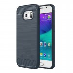 For Samsung Galaxy S6 / G920 Brushed Texture Fiber TPU Rugged Armor Protective Case(Dark Blue)