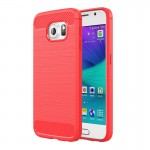 For Samsung Galaxy S6 / G920 Brushed Texture Fiber TPU Rugged Armor Protective Case(Red)