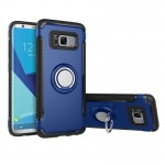 For Samsung Galaxy S8 Phone Ring Armor TPU + PC 360 Degrees Rotation Magnetic Phone Ring Stent Combination Case(Blue)