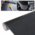 Car Decorative Carbon Fiber PVC Sticker, Size: 127cm(L) x 30cm(W), Black + Silver