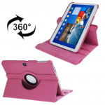 360 Degree Rotation Lichi Texture Leather Case with Holder for Samsung Galaxy Tab 3 (10.1) / P5200 / P5210, Magenta(Magenta)