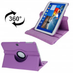 360 Degree Rotation Lichi Texture Leather Case with Holder for Samsung Galaxy Tab 3 (10.1) / P5200 / P5210, Purple(Purple)