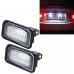 2 PCS License Plate Light with 18 SMD-3528 Lamps for Mercedes-Benz W203 4D ,2W 120LM 6000K, DC12V,with Canbus (White Light)