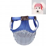 Striped Travel Pet Hat Outdoor Sports Breathable Hat Adjustable, Size: M(Blue)