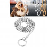 Pet Collars Pet Neck Strap Dog Neckband Snake Chain Dog Chain Solid Metal Chain Dog Collar,Length:40cm(Silver)