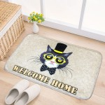Door Mat Cat and Dog Pattern Flannel Rectangular Bathroom Carpet Living Room Bedroom Anti - skid Household Foot Pad,Size:50*80cm