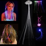 Cool Color Change Flashing Braid Luminous Pigtail Hair Clips LED Light Fiber for KTV / Bars / Clubs / Christmas Activities (Rand
