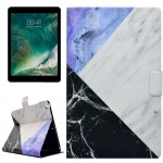 For iPad 9.7 inch (2017) PU+TPU Black and Blue Marble Pattern Horizontal Flip Leather Case with Holder & Card Slots