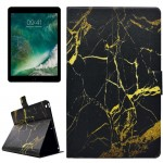 For iPad 9.7 inch (2017) PU+TPU Black Gold Marble Pattern Horizontal Flip Leather Case with Holder & Card Slots
