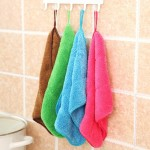 5 PCS Bamboo Fiber Washing Dish Towel Kitchen Cleaning Cloth Double-Sided Scouring Cloth Water Absorption Non-Stick Oil,Can Hang
