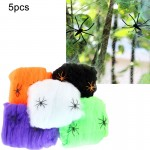 5 PCS Halloween Props Cotton Yarn Spider Webs, Random Color Delivery