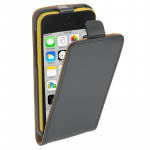 Vertical Flip Leather Case for iPhone 5C(Black)