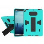For iPad Pro 10.5 inch PC+Silicone Shockproof Protective Back Cover Case With Holder (Black + Green)