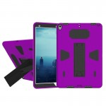For iPad Pro 10.5 inch PC+Silicone Shockproof Protective Back Cover Case With Holder (Black + Purple)