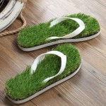 KEMA Summer New Pattern Flat Bottom Home Furnishing Non-slip Simulation Lawn Slippers Flip Flops, Size: 42/43#, Length: 27.5cm