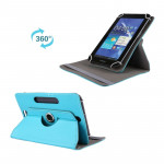 Litchi Texture 360 Degree Rotatable Universal Leather Case with Sleep / Wake-up & Holder for 7.0 inch Tablet PC(Blue)