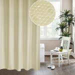 Thickening Waterproof And Mildew Curtain Honeycomb Texture Polyester Cloth Shower Curtain Bathroom Curtains,Size:240*200cm(Beige