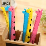 2 PCS Creative Stationery Cartoon Cute Giraffe Office School Student Measuring Tools Stationery Ruler, Random Color Delivery