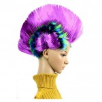 Funny Christmas Halloween Wig Masquerade Headdress Mohawk Hair Comb, Random Color Delivery