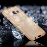For Samsung Galaxy A5 (2017) Diamond Encrusted Transparent Soft TPU Protective Back Cover Case (Gold)