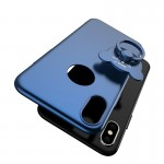 AIQAA For iPhone 8 Solid Color Metal Paint Plastic PC Dropproof Protective case with Bear Ring Holder(Dark Blue)