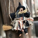Halloween Retro Witch Ornaments Broom Ghost Hang Up Props Halloween House Decoration Festive Party Supplies Halloween Pendant(Bl