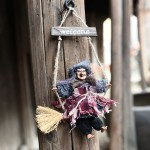 Halloween Retro Witch Ornaments Broom Ghost Hang Up Props Halloween House Decoration Festive Party Supplies Halloween Pendant (G