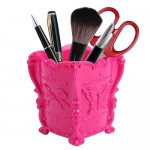 Retro Plastic Butterfly Cosmetics Container Makeup Organizer Eco-friendly Storage Box, Size: 10.5*10cm(Magenta)