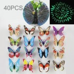 40 PCS Fashion Luminous Butterfly with Brooch Simulation Fridge Magnets Wall Sticker Garden Decoration, Random Color Delivery