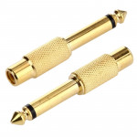 Gold Plated 6.35mm Memo Male to RCA Headphone Jack Adapter