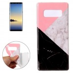 For Samsung Galaxy Note 8 Pink Black Color Matching Marble Pattern TPU Shockproof Protective Back Cover Case