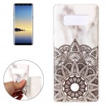 For Samsung Galaxy Note 8 Half Flower White Marble Pattern TPU Shockproof Protective Back Cover Case