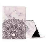 For iPad Pro 10.5 inch (2017) Half Flower White Marble Pattern Horizontal Flip Leather Protective Case with Holder & Card Slots