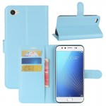 vivo X9s Litchi Texture Horizontal Flip Leather Case with Holder & Card Slots & Wallet (Blue)