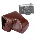 Full Body Camera PU Leather Case Bag with Strap for Canon EOS M6 (Coffee)