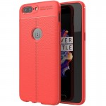 For OnePlus 5 Litchi Texture TPU Protective Back Cover Case (Red)
