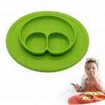 Smile Style One-piece Round Silicone Suction Placemat for Children, Built-in Plate and Bowl (Green)