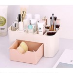 Multi-function Sub Format Desktop Cosmetics Tableware Organize Debris Storage Box Container Holder with Drawer(Light Pink)