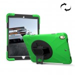 For iPad Pro 10.5 inch 360 Degree Rotation PC + Silicone Protective Case with Holder & Hand-strap (Light Green)