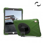 For iPad Pro 10.5 inch 360 Degree Rotation PC + Silicone Protective Case with Holder & Hand-strap(Army Green)