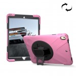 For iPad Pro 10.5 inch 360 Degree Rotation PC + Silicone Protective Case with Holder & Hand-strap (Pink)