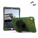 For iPad Pro 10.5 inch 360 Degree Rotation PC + Silicone Protective Case with Holder & Hand-strap (Camouflage Green)