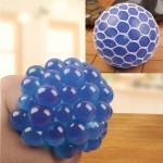 6cm Anti-Stress Face Reliever Grape Ball Extrusion Mood Squeeze Relief Healthy Funny Tricky Vent Toy(Blue)