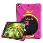 For iPad 9.7 inch (2017) 360 Degree Rotation PC + Silicone Protective Case with Holder & Hand-strap (Magenta)