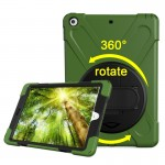 For iPad 9.7 inch (2017) 360 Degree Rotation PC + Silicone Protective Case with Holder & Hand-strap (Army Green)