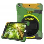For iPad 9.7 inch (2017) 360 Degree Rotation PC + Silicone Protective Case with Holder & Hand-strap (Camouflage Green)
